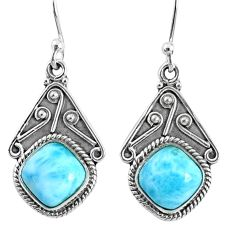 6.70cts natural blue larimar 925 sterling silver dangle earrings jewelry r67088