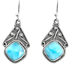 6.70cts natural blue larimar 925 sterling silver dangle earrings jewelry r67090