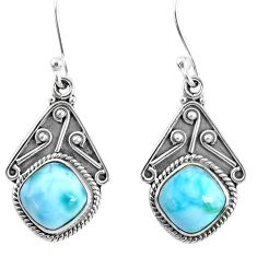 6.39cts natural blue larimar 925 sterling silver dangle earrings jewelry r67091