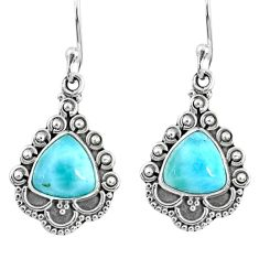5.73cts natural blue larimar 925 sterling silver dangle earrings jewelry r67155