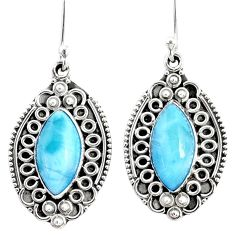 11.18cts natural blue larimar 925 sterling silver dangle earrings jewelry r67223