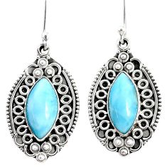 10.84cts natural blue larimar 925 sterling silver dangle earrings jewelry r67227