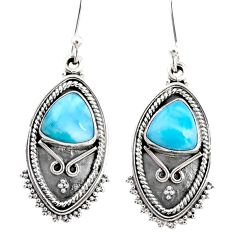 5.79cts natural blue larimar 925 sterling silver dangle earrings jewelry r67232