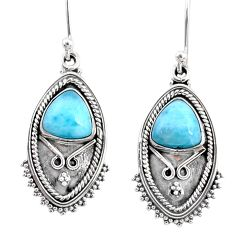 5.52cts natural blue larimar 925 sterling silver dangle earrings jewelry r67236