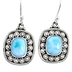 4.40cts natural blue larimar 925 sterling silver dangle earrings jewelry r67241