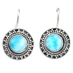 5.76cts natural blue larimar 925 sterling silver dangle earrings jewelry r67249