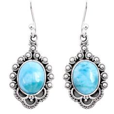 6.70cts natural blue larimar 925 sterling silver dangle earrings jewelry r67256