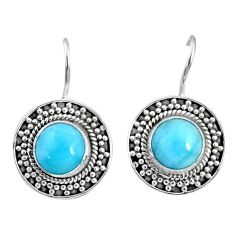6.29cts natural blue larimar 925 sterling silver dangle earrings jewelry r67269