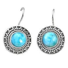 6.34cts natural blue larimar 925 sterling silver dangle earrings jewelry r67271