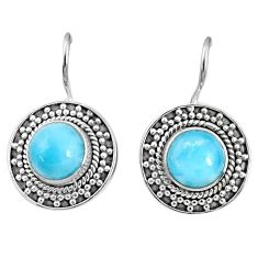 6.30cts natural blue larimar 925 sterling silver dangle earrings jewelry r67276
