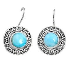 6.02cts natural blue larimar 925 sterling silver dangle earrings jewelry r67278