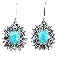 4.22cts natural blue larimar 925 sterling silver dangle earrings jewelry r68438
