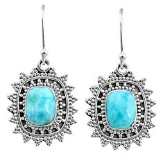 4.21cts natural blue larimar 925 sterling silver dangle earrings jewelry r68439
