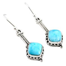 4.87cts natural blue larimar 925 sterling silver handmade dangle earrings r75862