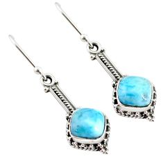 5.12cts natural blue larimar 925 sterling silver handmade dangle earrings r75863