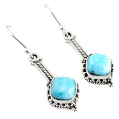 5.14cts natural blue larimar 925 sterling silver handmade dangle earrings r75869
