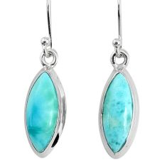 10.65cts natural blue larimar 925 sterling silver dangle handmade earring r83802
