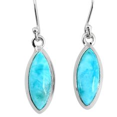 10.65cts natural blue larimar 925 sterling silver dangle handmade earring r83806