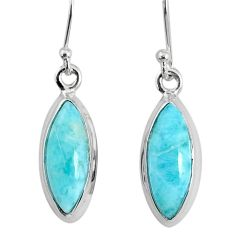 10.08cts natural blue larimar 925 sterling silver dangle handmade earring r83809