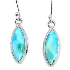 10.18cts natural blue larimar 925 sterling silver dangle handmade earring r83810