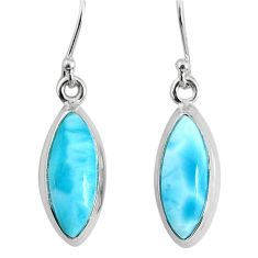 10.67cts natural blue larimar 925 sterling silver dangle handmade earring r83813
