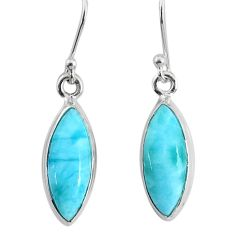 11.23cts natural blue larimar 925 sterling silver dangle handmade earring r83814