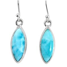 10.22cts natural blue larimar 925 sterling silver dangle handmade earring r83815