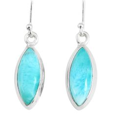 11.07cts natural blue larimar 925 sterling silver dangle handmade earring r83827