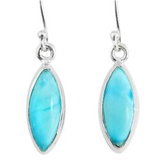 11.17cts natural blue larimar 925 sterling silver dangle handmade earring r83830