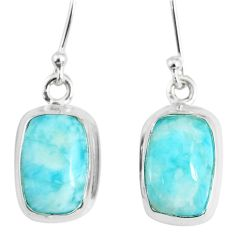 9.98cts natural blue larimar 925 sterling silver dangle handmade earring r83831