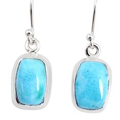 8.41cts natural blue larimar 925 sterling silver dangle handmade earring r83870