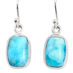 9.05cts natural blue larimar 925 sterling silver dangle handmade earring r83878