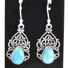 5.11cts natural blue larimar 925 sterling silver dangle earrings jewelry t1181
