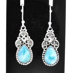 5.36cts natural blue larimar 925 sterling silver dangle earrings jewelry t1236