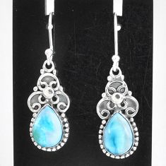 5.36cts natural blue larimar 925 sterling silver dangle earrings jewelry t1258
