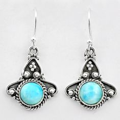 2.53cts natural blue larimar 925 sterling silver dangle earrings jewelry t26971