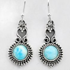 2.57cts natural blue larimar 925 sterling silver dangle earrings jewelry t26974