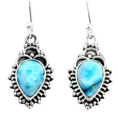 5.58cts natural blue larimar 925 silver dangle earrings jewelry t34040