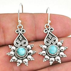 1.93cts natural blue larimar 925 silver dangle earrings jewelry t34245
