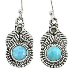 1.63cts natural blue larimar 925 sterling silver dangle earrings jewelry t35972