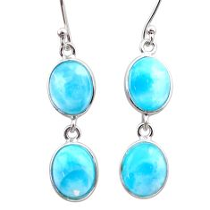11.93cts natural blue larimar 925 sterling silver dangle earrings jewelry t44621