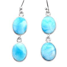 12.52cts natural blue larimar 925 sterling silver dangle earrings jewelry t44622