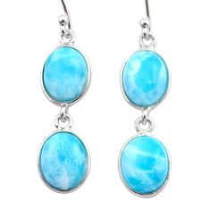 11.93cts natural blue larimar 925 sterling silver dangle earrings jewelry t44623