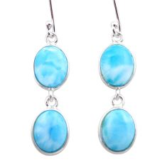 11.93cts natural blue larimar 925 sterling silver dangle earrings jewelry t44625