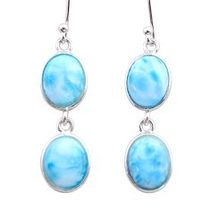 11.28cts natural blue larimar 925 sterling silver dangle earrings jewelry t44626