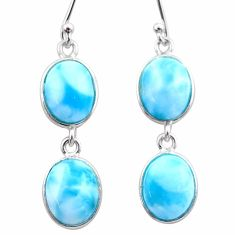 12.52cts natural blue larimar 925 sterling silver dangle earrings jewelry t44628