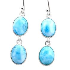 12.57cts natural blue larimar 925 sterling silver dangle earrings jewelry t44629