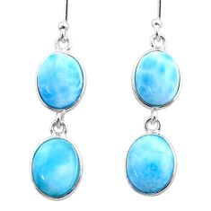 12.54cts natural blue larimar 925 sterling silver dangle earrings jewelry t44630