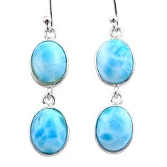 13.13cts natural blue larimar 925 sterling silver dangle earrings jewelry t44632
