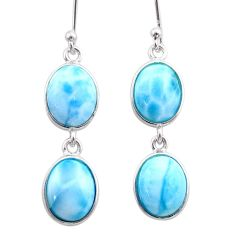 12.52cts natural blue larimar 925 sterling silver dangle earrings jewelry t44635